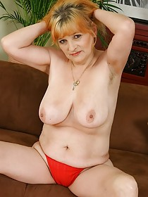 Red panties granny fucking her wrinkly pussy with a huge toy